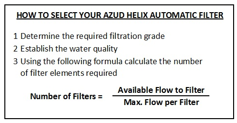 how to select your azud helix automatic filter