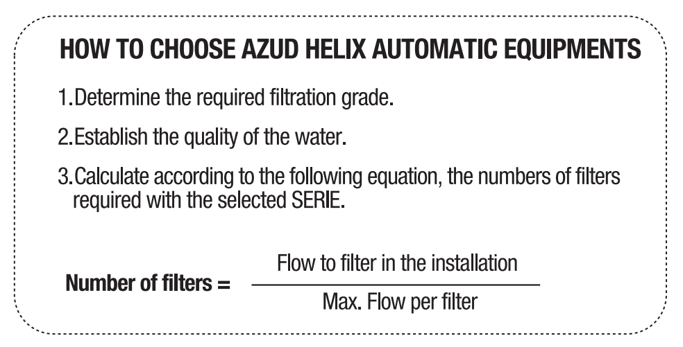 how to choose azud helix automatic equipments